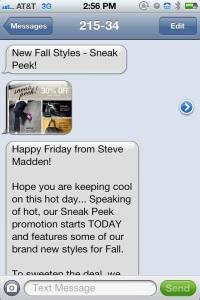 Steve Madden Shoes MMS message marketing